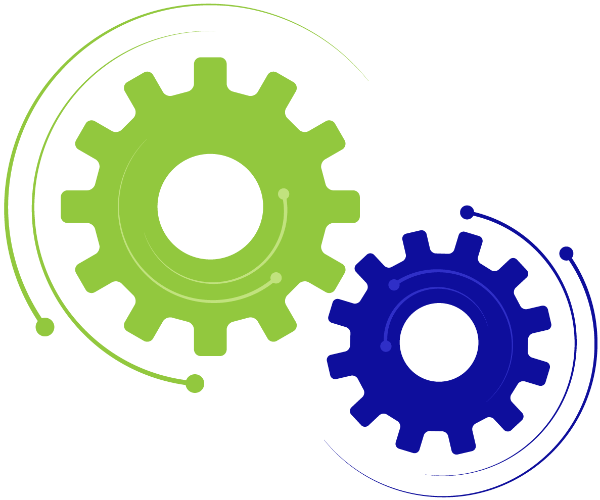 Vector illustration of two gears