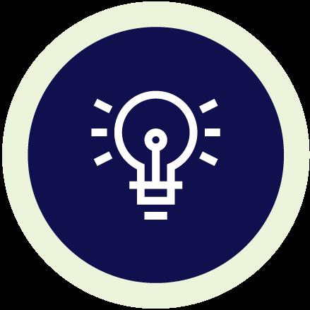Line illustration of a lightbulb inside a navy blue circle