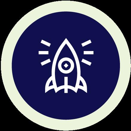 Line illustration of a rocket ship on a navy blue circle