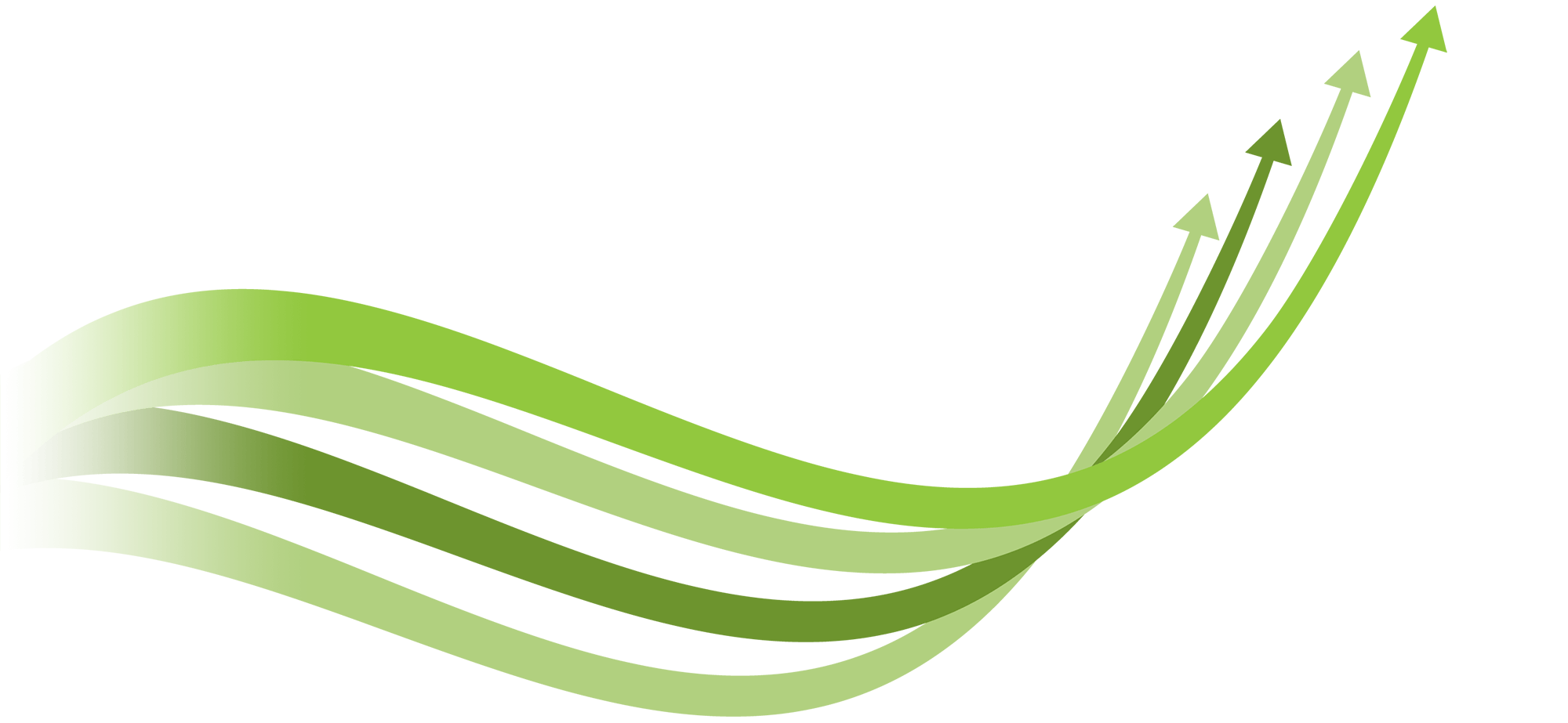 A series of green arrows swooping upwards from left to right